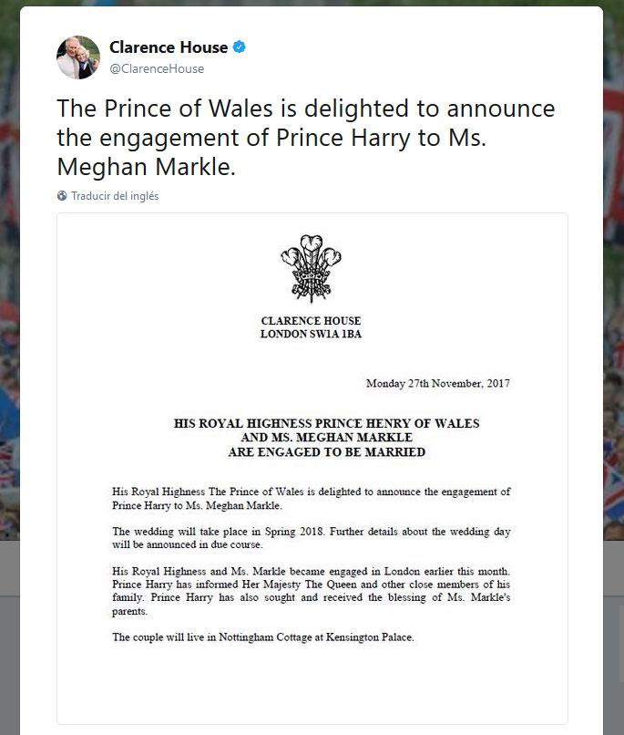 Anuncio compromiso Harry y Meghan Markle